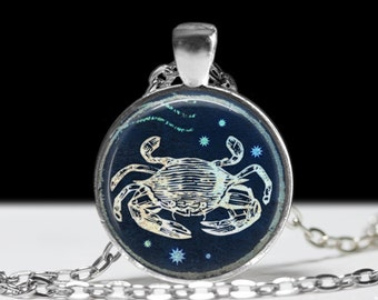 Cancer Jewelry Zodiac Necklace Wearable Art Pendant