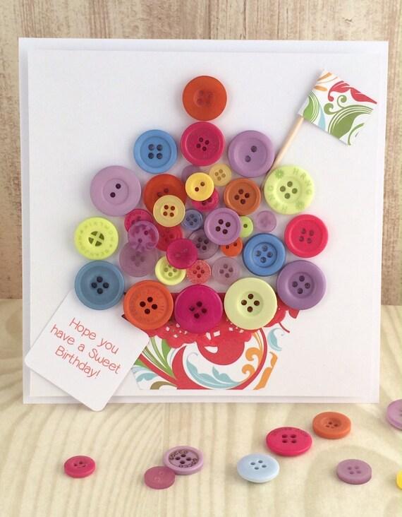 Handmade Button Cupcake Birthday Card Multi Brights