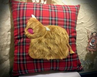 Highland Cow, Highland McSpice hairy cow cushion from the Heilin' Range, Highland cow cushion, wildlife cushion, tartan cushion