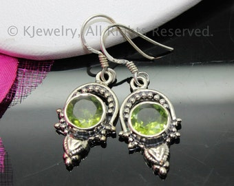 Peridot Earrings, Sterling Silver Earrings, Gemstone Earrings