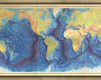 24x36 Poster; Heezen-Tharp World Ocean Floor Map By Berann 1977