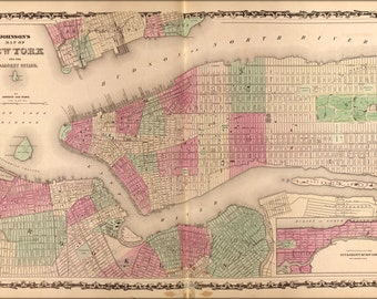 24x36 Poster; Map Of New York City 1862
