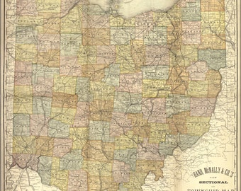 24x36 Poster; Map Of Ohio 1881