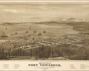 24x36 Poster; Birdseye Map Port Townsend Washington State 1878