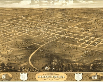 24x36 Poster; Birdseye View Map Of Independence, Missouri 1868