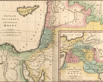 24x36 Poster; Map Of Israel & Places From Books Of Moses 1826