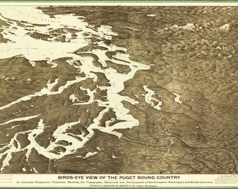 24x36 Poster; Map Of Puget Sound Country Washington State 1891