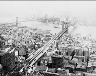 24x36 Poster; Brooklyn And Manhattan Bridges, New York City, In 1916
