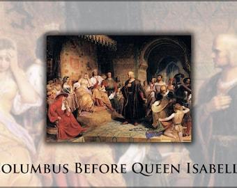 24x36 Poster; Christopher Columbus Before Queen Isabella. By Emanuel Leutze