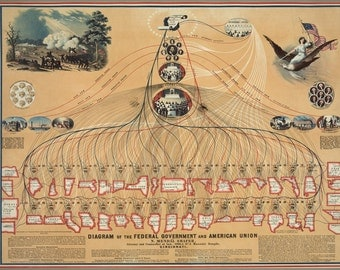 24x36 Poster; Diagram Of The Federal Government And American Union C1862
