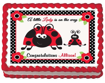 Red Ladybug Edible 1st Birthday Baby Shower Party Cake Cupcake Toppers  Choose From 10 Frosting Sheet