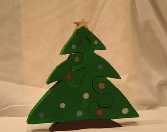 Handmade Handpainted Christmas Tree Puzzle