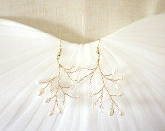 Gold Branch Earrings Gold Earrings Gold Wire Earrings Pearl Earrings Beaded Earrings Bridal Earrings Woodland Earrings Bohemian Earrings #38
