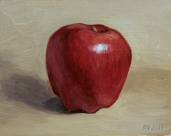 Red Delicious Apple Oil Painting - 6x8 oil on hardboard original oil painting still life by Aleksey Vaynshteyn