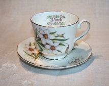 Duchess Bone China, England, Teacup, Flower of the Month Cup March, March Cup Saucer, Vintage China, Collectible, Tea Party, Gift for Her