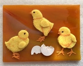 BABY CHICKS NIGHTLIGHT - Decoupage Golden Stained Glass Night Light