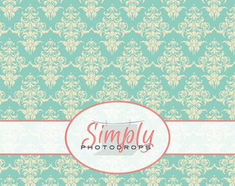 BLUE DAMASK vinyl Photography Backdrop