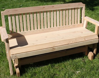 Brand New 5 Foot Cedar Wood Traditional Outdoor Glider - Free Shipping
