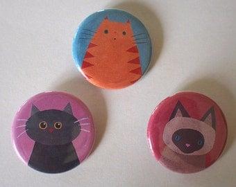 Cat Badge Button Set