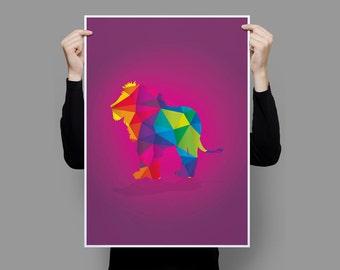 Lion 'Geometric Animals' Collection Art Print
