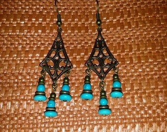 Chandelier Style Antique Copper and Turquoise