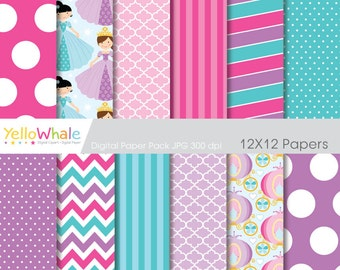 Digital Paper - Little Princess, chevron, polka dots, stripes, for scrapbooking, invitations, paper crafts - only FOR PERSONAL USE