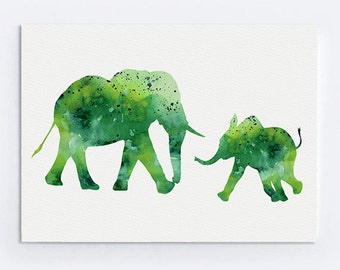 Two Elephants Watercolor Print Kids Wall Decor Green Elephant Silhouettes