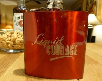 Flask, Liquid Courage, Stainless Steel, Groomsmen, Fathers day, Birthday Gift, Custom