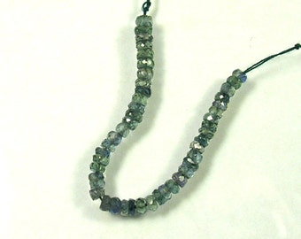 "Blue green Songea sapphire faceted rondelle beads AAA 2.5-3mm 2.8"" strand"