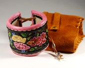 Leather Cuff Bracelet. Floral ornament. Carving leather bracelet.