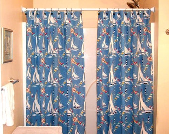 "Split/Panel Bath Shower Curtain Extra Long, Reg. length also! -72"", 84"", 90"" - Waverly Sailboats & flags fabric"