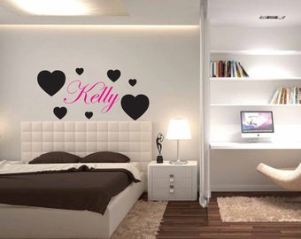 Name and Heart Vinyl Wall Decal