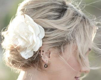 Ivory silk bridal hair flower