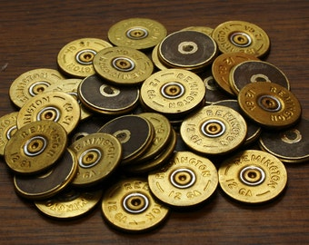 REMINGTON 12 gauge shotgun shell head stamps, lot of 12 in BRASS, thin cut and polished for crafts jewelry earrings necklaces bracelets