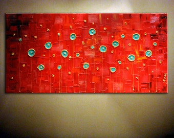 """Original Contemporary Abstract Textured Large Artwork. Red Gold Painting.Modern.Palette Knife.Art Deco. 18""""x 36"""" - by Nata  - MADE to ORDER"""
