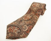 vintage paisley necktie brown and black