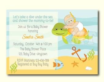 Custom Under The Sea Baby Shower Invite- Ocean Theme Baby Shower Invitation- Beach Baby Shower Invite- Baby Shower Boy Invitation- You Print