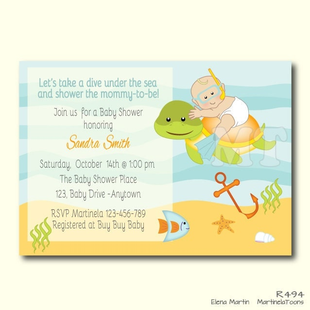 custom under the sea baby shower invite ocean theme baby, Baby shower invitation