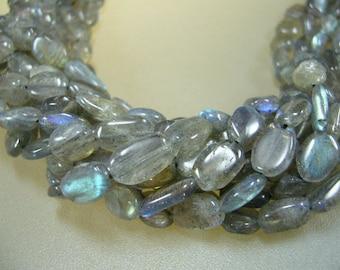 "Labradorite Smooth Oval Beads Jewelry Supplies 13"""