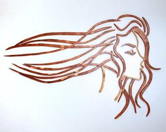 Head Sculpture - Wooden Head - Female Head - Facing East