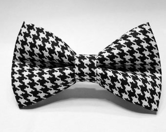 Houndstooth Bow Tie | Bow Tie for Men | For Him | Bowtie | Self Tie | Dog Bow Tie | Mens Bow Tie | Boys Bow Tie | Wedding Bow Men
