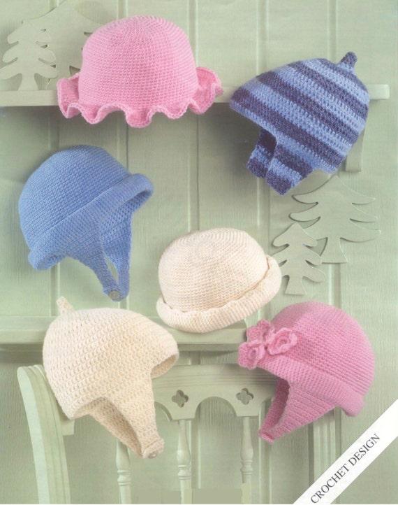 Crochet Baby Hats Vintage Pattern Helmet Bonnet earflap