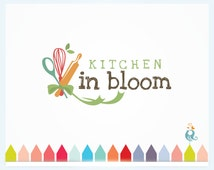 Kitchen in Bloom, Cooking Business Logo, Food Logo with Spoon Whisk and Rolling Pin, Premade Chef Logo Watermark, Custom Kitchen Design Logo