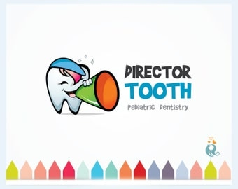 Whimsical Cartoon Tooth Premade Logo Design for Dentistry and Tooth Care, Business Logo Watermark for Pediatric Dentistry, Tooth Smile Logo