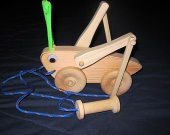 Grasshopper Wooden Pull Toy