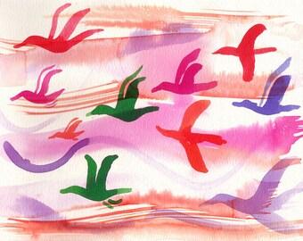 """Art Print birds flying Watercolor 11x14"""""""
