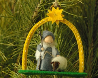 Shepherd with sheep //  Christmas decorations (12 cm) // Natural season table // Gift for Christmas // Waldorf decorations