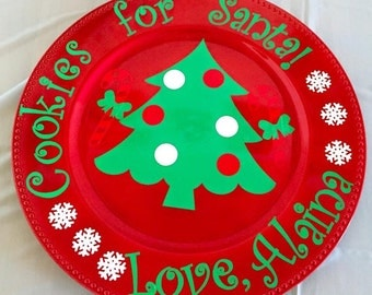 Red Cookies for Santa Plate/Holiday/Personalized/Gift/Present/Decoration