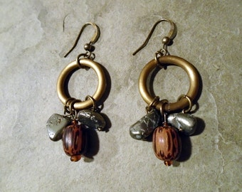 Exotic wood earrings with pyrite and brass ring