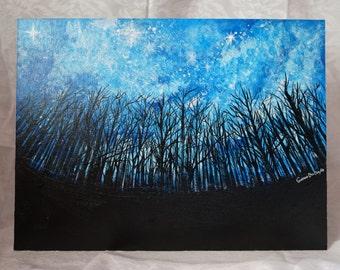 ORIGINAL acrylic painting on Canvas < galaxy & night forest 2 >